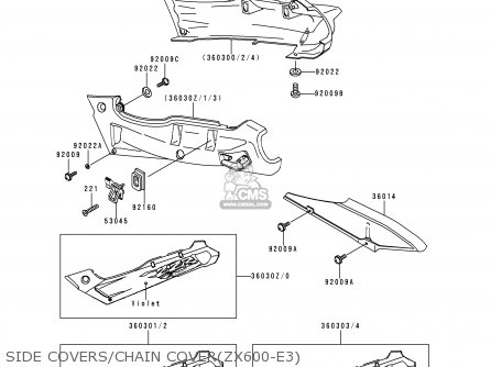 Kawasaki 1995 E3  Zx600 Side Covers chain Coverzx600-e3
