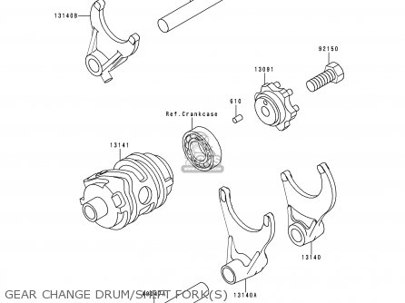 Kawasaki 1999 L1  Kx250 Gear Change Drum shift Forks