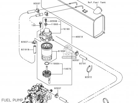 Kawasaki 2000 A1  Kaf950 north America Fuel Pump