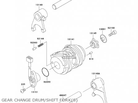 Kawasaki 2002 An110-c7 Gear Change Drum shift Forks