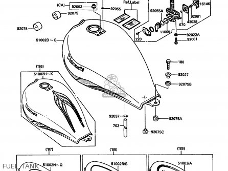 Kawasaki En450a3 454ltd 1987 Usa California Canada Parts Lists And