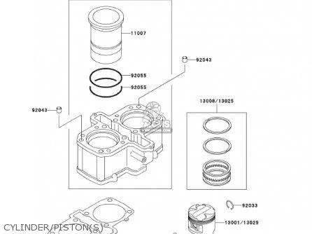 Kawasaki En500c7 Vulcan500ltd 2002 Usa California Canada Cylinder pistons