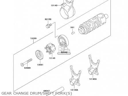 Kawasaki En500c7 Vulcan500ltd 2002 Usa California Canada Gear Change Drum shift Forks