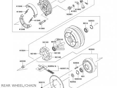 Kawasaki En500c7 Vulcan500ltd 2002 Usa California Canada Rear Wheel chain