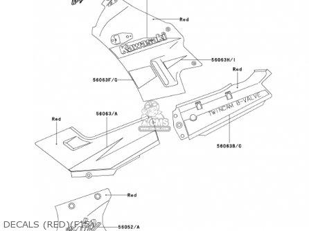 Kawasaki Ex250-f15 Ninja250r 2001 Usa California Decals redf15