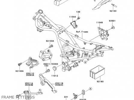 Kawasaki Ex250-f15 Ninja250r 2001 Usa California Frame Fittings