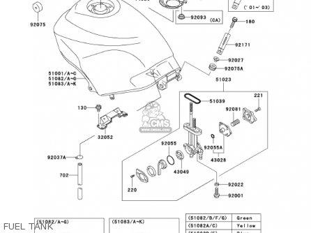 Kawasaki Ex250-f15 Ninja250r 2001 Usa California Fuel Tank