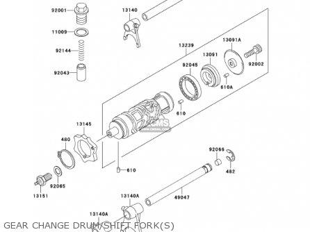 Kawasaki Ex250-f15 Ninja250r 2001 Usa California Gear Change Drum shift Forks