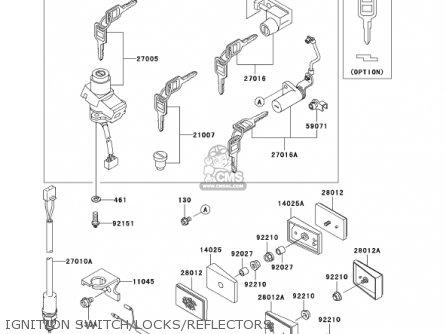 Kawasaki Ex250-f15 Ninja250r 2001 Usa California Ignition Switch locks reflectors