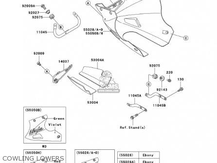 Kawasaki Ex250f15 Ninja 250r 2001 Usa California Cowling Lowers