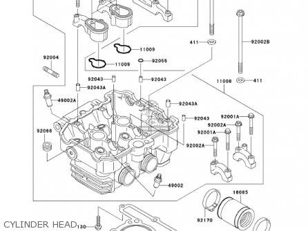 Kawasaki Ex250f15 Ninja 250r 2001 Usa California Cylinder Head