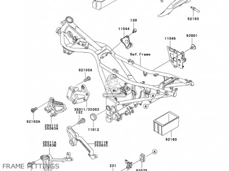 Kawasaki Ex250f15 Ninja 250r 2001 Usa California Frame Fittings