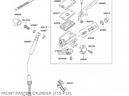 Kawasaki Ex250f15 Ninja 250r 2001 Usa California Front Master Cylinder f15-f18