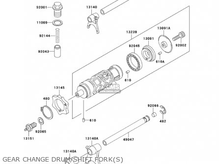 Kawasaki Ex250f15 Ninja 250r 2001 Usa California Gear Change Drum shift Forks