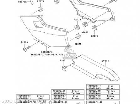 Kawasaki Ex250f15 Ninja 250r 2001 Usa California Side Covers chain Cover