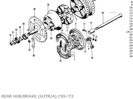 Kawasaki G3ssa 1971 Usa Canada Rear Hub brake g3tr a 69-73
