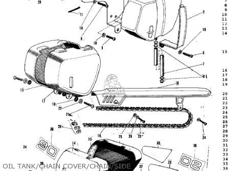 Kawasaki G3ssa 1971   Mph Kph Oil Tank chain Cover chain side