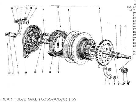 Kawasaki G3ssa 1971   Mph Kph Rear Hub brake g3ss a b c 69