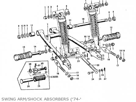 Kawasaki G3ssa 1971   Mph Kph Swing Arm shock Absorbers 74-