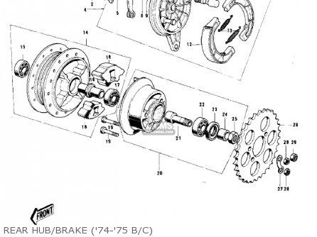 Kawasaki G5-b 1974 Canada Rear Hub brake 74-75 B c