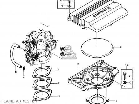 Kawasaki JS550-A6 JETSKI550 1987 USA parts lists and schematics