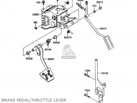Kawasaki Kaf450-b1 Mule1000 1988 Usa Brake Pedal throttle Lever