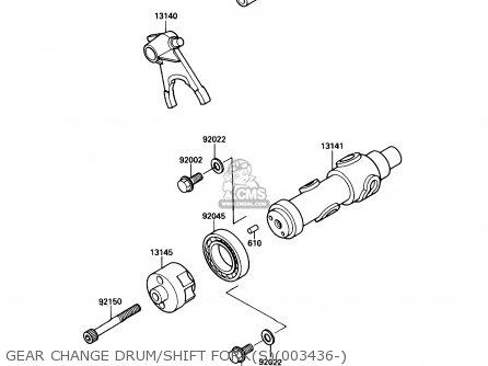 Kawasaki Kaf450-b1 Mule1000 1988 Usa Gear Change Drum shift Forks003436-