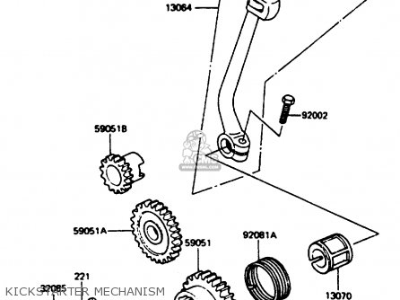 Kawasaki Kc100c5 1987 Usa Kickstarter Mechanism