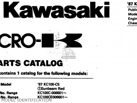 Kawasaki Kc100c5 1987 Usa Model Identification