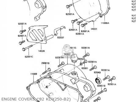 Kawasaki Kdx250 B2 Kdx250 1982 Usa California Canada Engine Covers