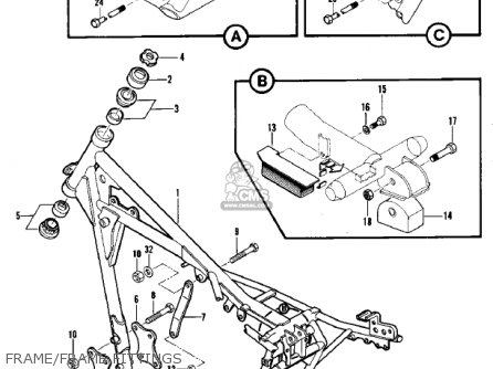 Kawasaki Kdx420-b1 Kdx420 1981 United Kingdom Usa California Export Frame frame Fittings
