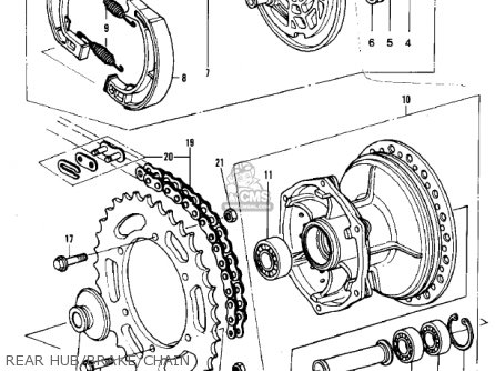 Kawasaki Kdx420-b1 Kdx420 1981 United Kingdom Usa California Export Rear Hub brake chain