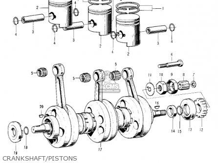 Kawasaki Kh250a5 1976 Canada Crankshaft pistons