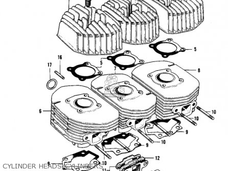 Kawasaki Kh250a5 1976 Canada Cylinder Heads cylinders