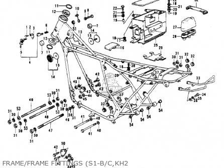 Kawasaki Kh250a5 1976 Canada Frame frame Fittings s1-b c kh2