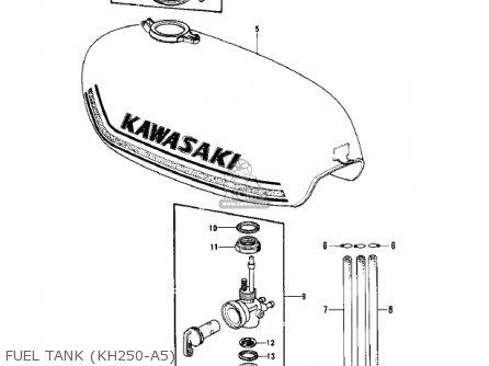 Kawasaki Kh250a5 1976 Canada Fuel Tank kh250-a5