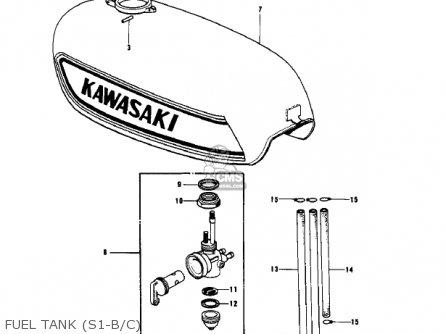 Kawasaki Kh250a5 1976 Canada Fuel Tank s1-b c