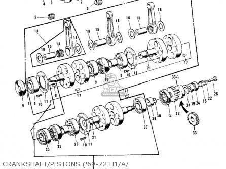Kawasaki Kh500a8 1976 Canada Crankshaft pistons 69-72 H1 a