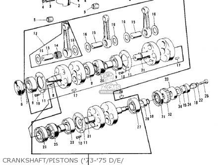 Kawasaki Kh500a8 1976 Canada Crankshaft pistons 73-75 D e