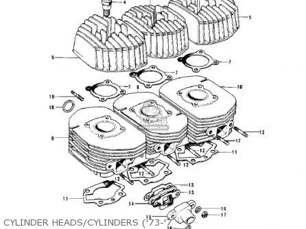 Kawasaki Kh500a8 1976 Canada Cylinder Heads cylinders 73-7