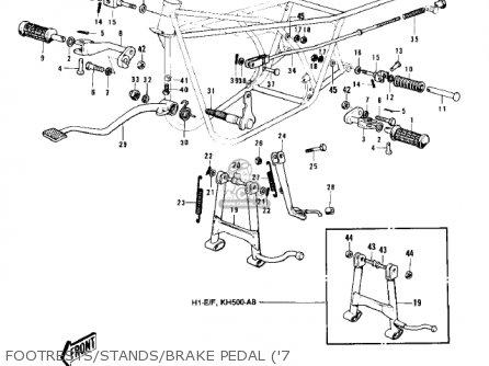 Kawasaki Kh500a8 1976 Canada Footrests stands brake Pedal 7