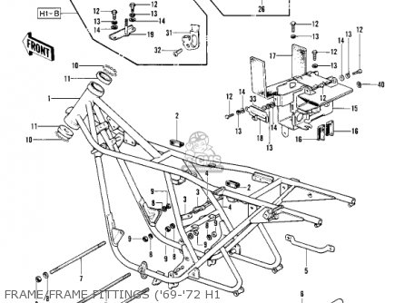 Kawasaki Kh500a8 1976 Canada Frame frame Fittings 69-72 H1