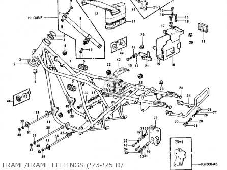 Kawasaki Kh500a8 1976 Canada Frame frame Fittings 73-75 D