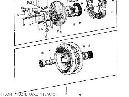 Kawasaki Kh500a8 1976 Canada Front Hub brake h1 a c