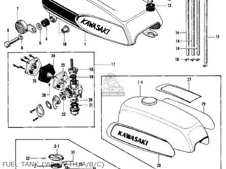 Kawasaki Kh500a8 1976 Canada Fuel Tank 69-72 H1 a b c