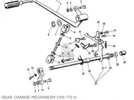 Kawasaki Kh500a8 1976 Canada Gear Change Mechanism 69-72 H