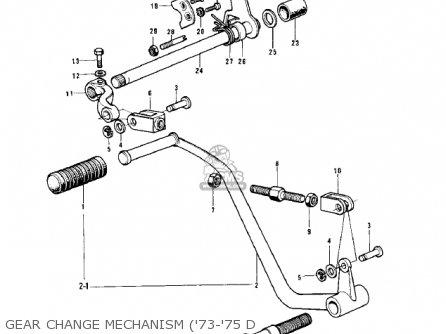 Kawasaki Kh500a8 1976 Canada Gear Change Mechanism 73-75 D