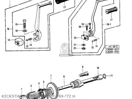 Kawasaki Kh500a8 1976 Canada Kickstarter Mechanism 69-72 H