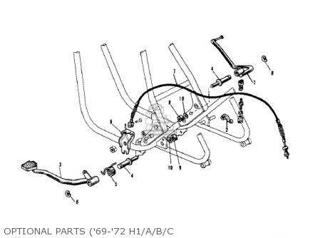 Kawasaki Kh500a8 1976 Canada Optional Parts 69-72 H1 a b c