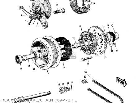 Kawasaki Kh500a8 1976 Canada Rear Hub brake chain 69-72 H1